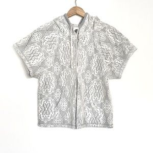 ROXY Floral Lace Short Sleeve Hoodie White Gray M